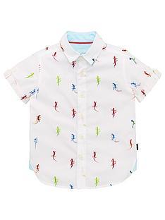 6c047d6d824545 Baker by Ted Baker Boys Lizard Print Short Sleeve Shirt - White