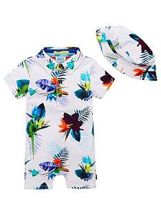 baker-by-ted-baker-baby-boys-tropical-print-romper-and-hat-white