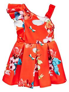 9426bf5a83be Baker by Ted Baker Girls Scuba One Shoulder Dress - Red