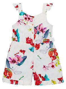 2143fa1685bd Baker by Ted Baker Toddler Girls Viscose Floral Playsuit - Off White