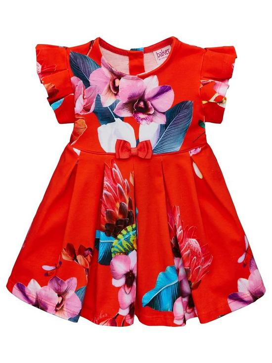 545c55dcb354 Baker by Ted Baker Baby Girls Floral Jersey Dress - Red | very.co.uk
