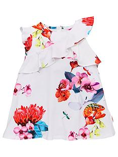 9c24c392a19 Baker by Ted Baker Toddler Girls Floral Frill Jersey Dress - Off White