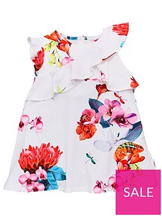 137055fb2b5b Baker by Ted Baker Toddler Girls Floral Frill Jersey Dress - Off White
