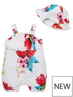 7072b9a5a6c1d Baker by Ted Baker Baby Girls Plisse Floral Romper And Hat - Off White