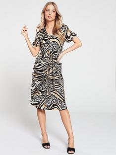 45479761023 Wallis Mixed Animal Print Shirt Dress