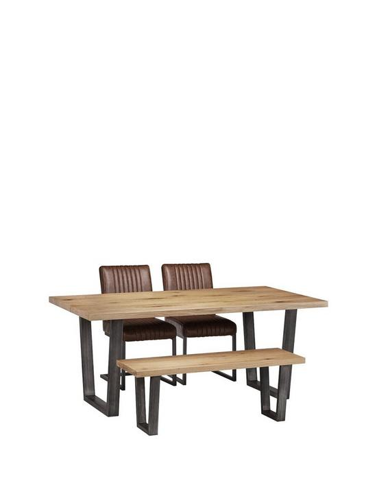 Awesome Brooklyn 180 Cm Metal And Solid Oak Dining Table 2 Chairs Bench Interior Design Ideas Gentotryabchikinfo