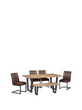 julian-bowen-brooklyn-180-cm-solid-oak-and-metal-table-4-chairs-bench