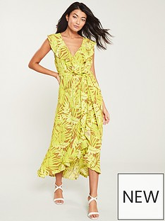 4f7135eee57 Wallis Neon Palm Ruffle Wrap Dress - Yellow
