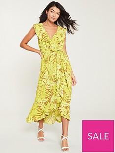 wallis-neon-palm-ruffle-wrap-dress-yellow