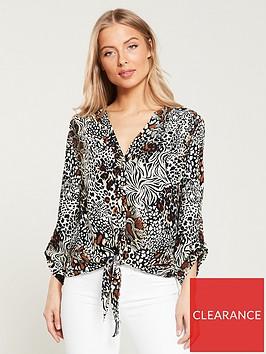 wallis-mixed-animal-printnbsptie-blouse-neutral