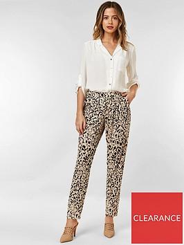 wallis-petite-animal-trousers-black
