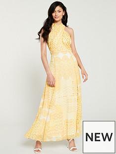 wallis-tile-print-twist-maxi-dress-yellow