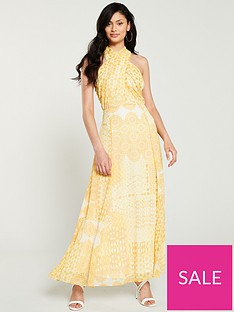 wallis-tile-print-twist-maxi-dress-yellow