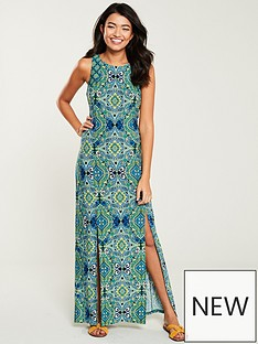 74f6717114f Wallis Mosaic Split Front Maxi Dress - Green