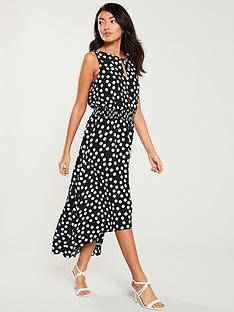 wallis-polka-dot-dip-hem-dress-monochrome
