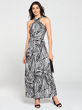 wallis-mono-print-twist-neck-maxi-dress-monochrome