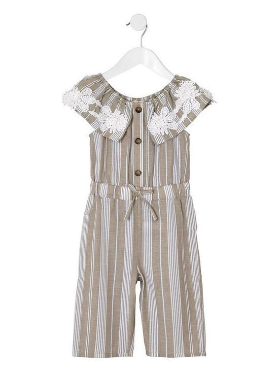 Mini girls stripe bardot jumpsuit beige