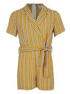 7b3e7233d1 River Island Girls stripe wrap playsuit - yellow