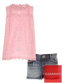 river-island-girls-broderie-shell-top-outfit-pink