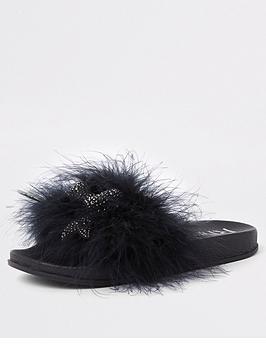 river-island-girls-embellished-faux-feather-sliders-black
