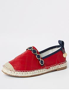 3abac97a602d5 River Island Girls embossed contrast espadrilles - red