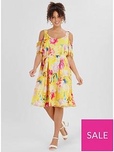 evans-floral-printed-cold-shoulder-dress--nbspyellow
