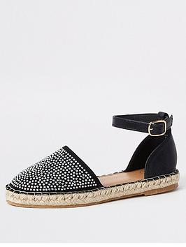 river-island-girls-embellished-espadrille-sandals-black