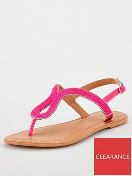 v-by-very-havana-beaded-toe-post-neon-sandals-pink