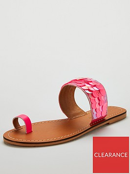 v-by-very-houston-neon-sequin-toe-loop-leather-sliders-pink