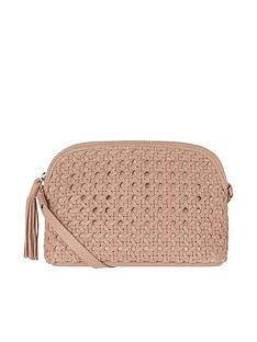 8cf8a7a9d Accessorize Ariana Woven Dome Leather Cross Body Bag - Nude