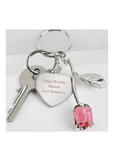 the-personalised-memento-company-personalised-pink-rose-keyring