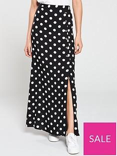 65dccedce2717 V by Very Button Side Spun Viscose Maxi Skirt - Polka Dot