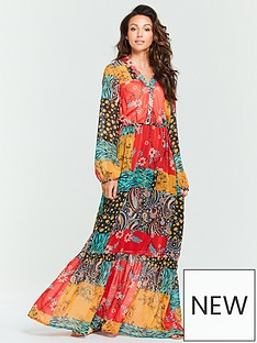 2b583eaa0 Michelle Keegan Patchwork Wrap Maxi Dress - Printed