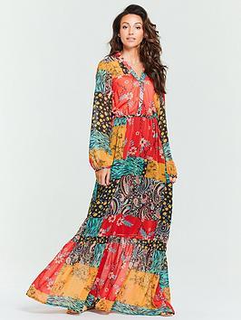 michelle-keegan-patchwork-wrap-maxi-dress-printed