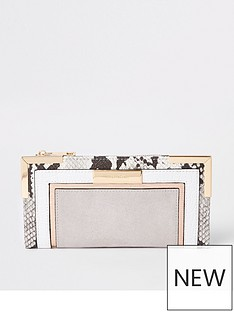 575470d32c68 River Island River Island Grey And Snake Panelled Metal Trim Purse-grey