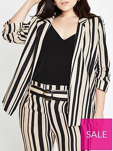 ri-plus-ri-plus-stripe-ruched-sleeve-blazer--stripe