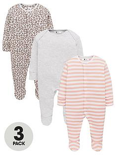v-by-very-baby-girls-3-pack-leopard-print-stripe-sleepsuits-multi