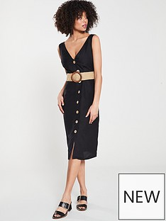 bf0df77361 River Island River Island Linen Button Through Tie Belt Dress- Black