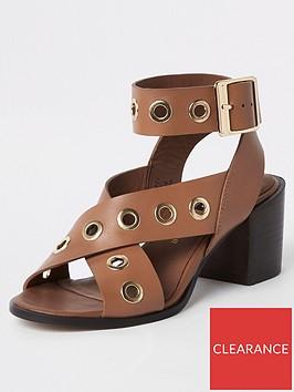 river-island-river-island-eyelet-block-heel-leather-sandals--tan