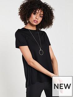 589e9825ff095 River Island Pleated Back T-shirt- Black