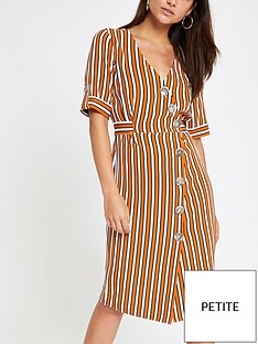 aa0987b4ac31 RI Petite Ri Petite Button Detail Stripe Midi Dress - Orange