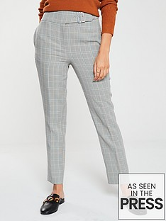 v-by-very-gingham-belted-tapered-trouser-check