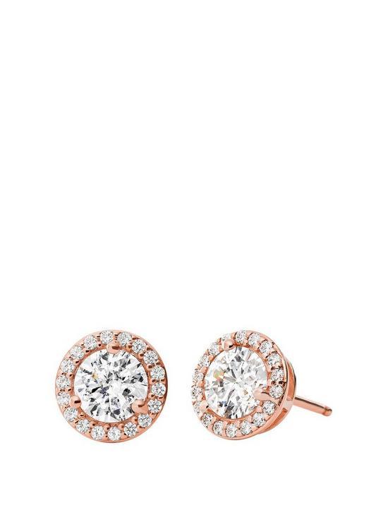 82aa980e12fef Michael Kors Sterling Silver 14K Rose Gold Plated Stud Earrings