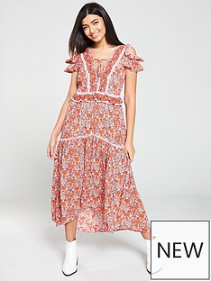 3a7575481cf5 V by Very Ladder Trim Detail Midaxi Dress - Floral Print