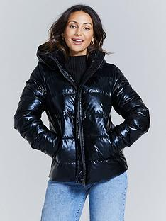 michelle-keegan-high-shine-short-padded-coat-black