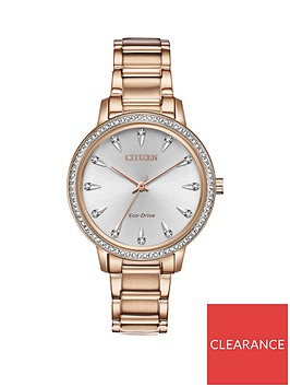 citizen-citizen-eco-drive-silver-sunray-and-crystal-set-dial-rose-gold-stainless-steel-bracelet-ladies-watch