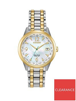 citizen-citizen-eco-drive-perpetual-calendar-mother-of-pearl-and-gold-detail-date-dial-two-tone-stainless-steel-bracelet-ladies-watch