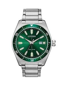 citizen-citizen-eco-drive-green-sunray-date-dial-stainless-steel-bracelet-mens-watch