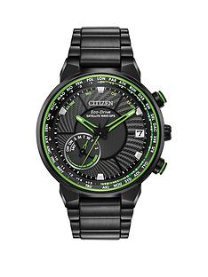 citizen-citizen-eco-drive-satellite-wave-gps-black-and-green-detail-chronograph-dial-black-stainless-steel-bracelet-mens-watch