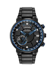 citizen-citizen-eco-drive-satellite-wave-gps-black-and-blue-detail-chronograph-dial-black-stainless-steel-bracelet-mens-watch